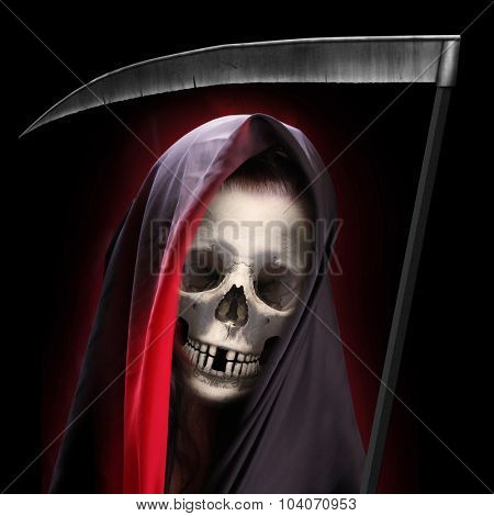Portrait of death. Grim reaper working every day. Illustration for Halloween brochures and advertising.