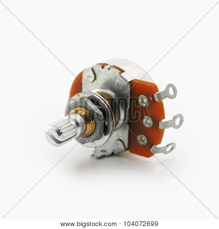 Potentiometer or usually known as volume pot, isolated on white.