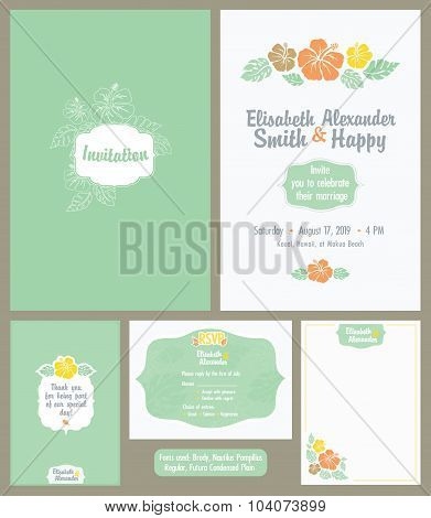 Vector Hawaiian Wedding Invitation Set. Light Green. Elisabeth Alexander