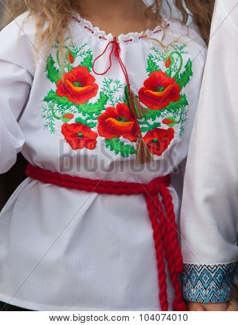 Shirt embroidery for girls. National clothes. Ukraine.