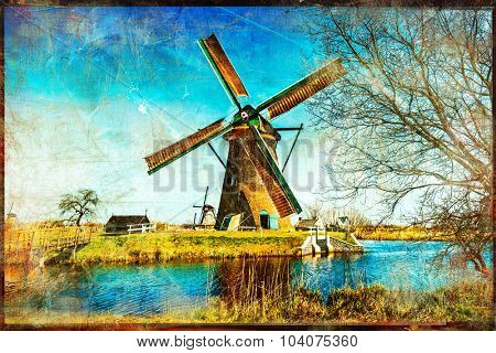 windmills of Holland - artwork in painting style