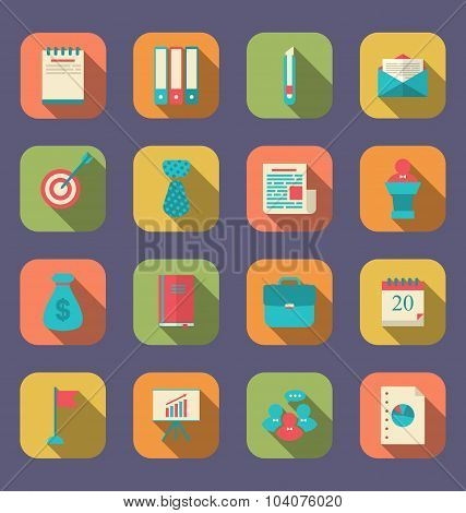 Modern flat icons of web design objects, business, office and ma