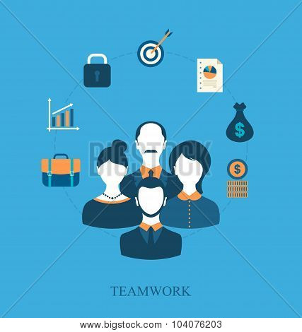 Concept of teamwork of business people leading, flat icons of bu