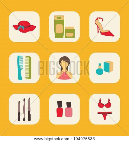 Flat icons set with a central woman surrounded by hat, creams, s