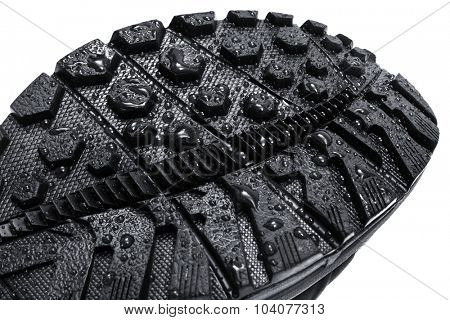 water drops on the soles of shoes
