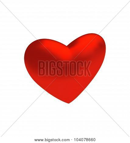 Red three-dimensional heart isolated on white background