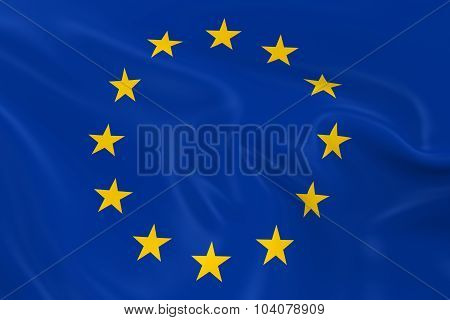 Waving Flag Of The European Union - 3D Render Of The Eu Flag With Silky Texture