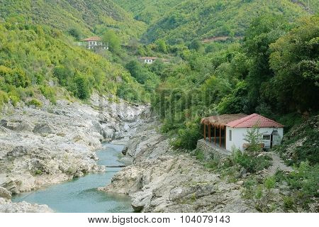 Landscape with the image of mountains in Albania