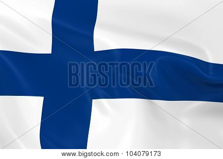 Waving Flag Of Finland - 3D Render Of The Finnish Flag With Silky Texture