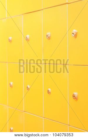 Interior of a dressing room with the image of lockers
