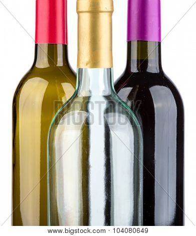 Three wine bottles isolated on white background.