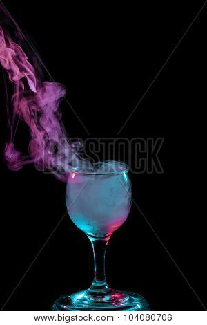 Blue And Purple Smoke In The Glass. Halloween.