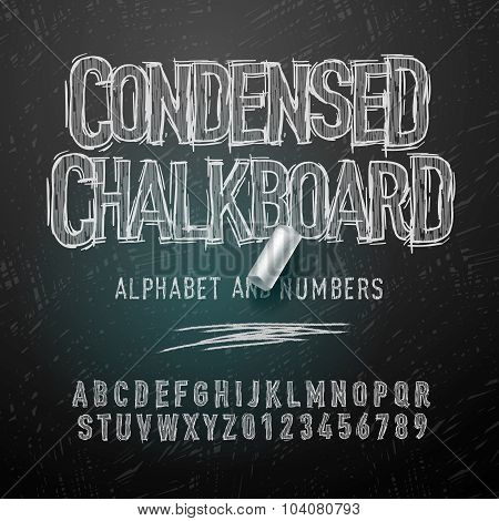 Condensed chalk alphabet letters and numbers, vector illustration.
