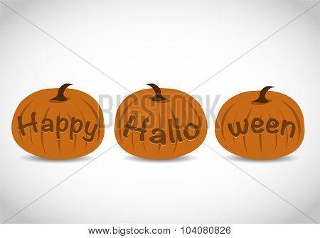 Carved Happy Halloween Text Pumpkins