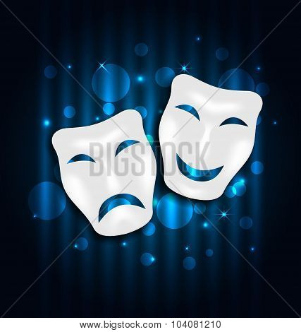 Comedy and tragedy theatre masks on blue shimmering  background