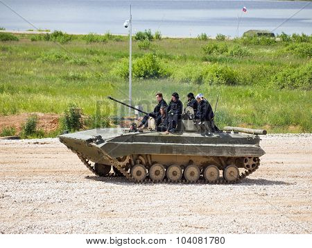 Command of military firefighters on BMP-2