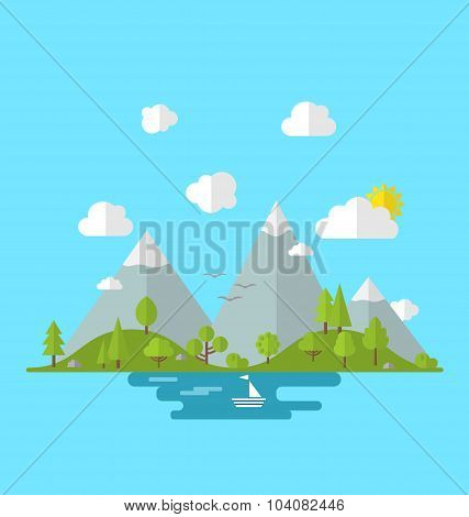 Landscape woods valley hill forest land scene view background