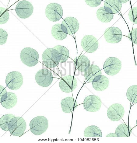 Branches with round leathes. Watercolor background. Seamless pattern 4