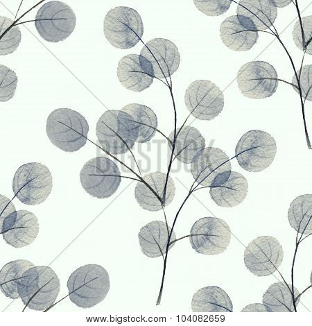 Branches with round leathes. Watercolor background. Seamless pattern 5