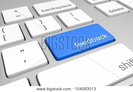 Feedback key on a computer keyboard for customer opinion