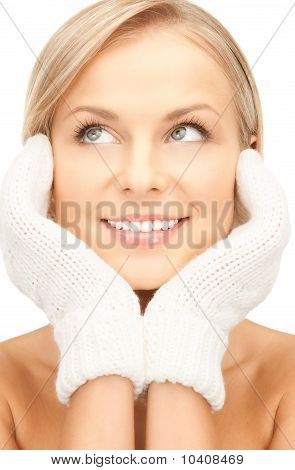 Beautiful Woman In White Mittens