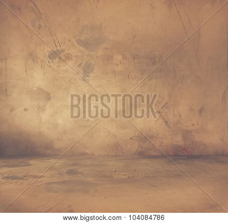 old grunge room with concrete wall, urban background, retro film filtered, instagram style