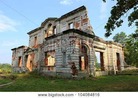 Ruins of old Tereshchenko castle in Denishy village, Ukraine