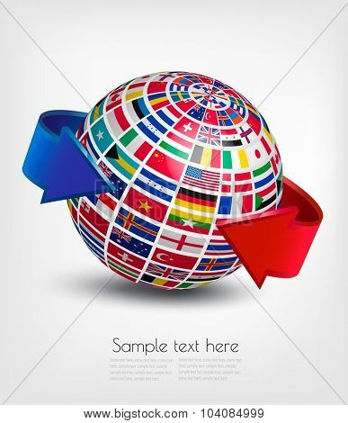Flags of the world on a globe. Vector