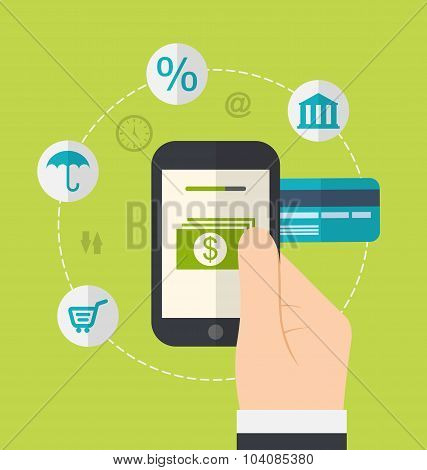 Concepts of online payment methods. Icons for online payment gat