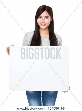 Young woman hold with white banner