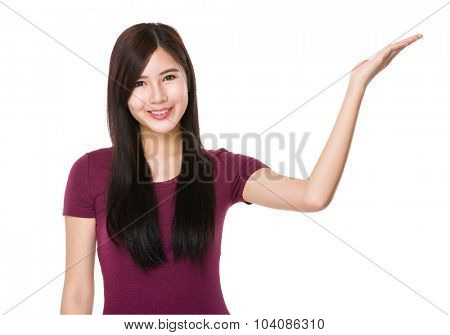 Young woman with open hand palm