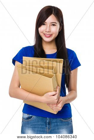 Asian Young woman hold with folder