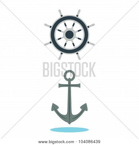 Anchor And Steering Wheel Of The Ship.