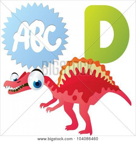 Vector comic cute animals ABC: D is for Dinosaur