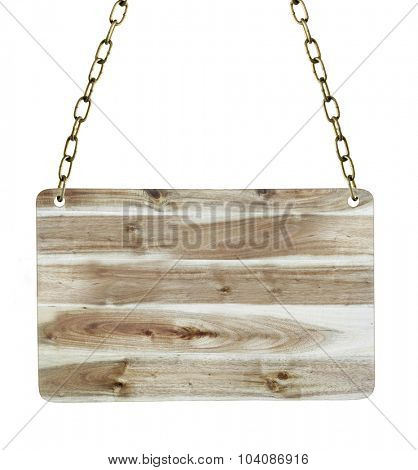 Blank wooden sign hanging down