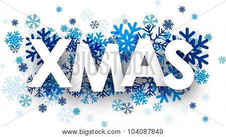 Xmas sign with snowflakes. Vector illustration.