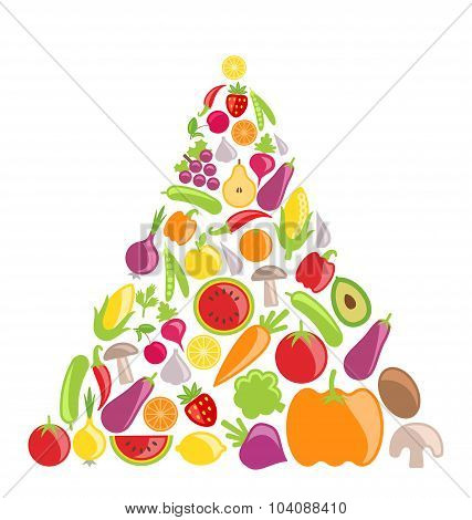 Pyramid of Vegetables and Fruits