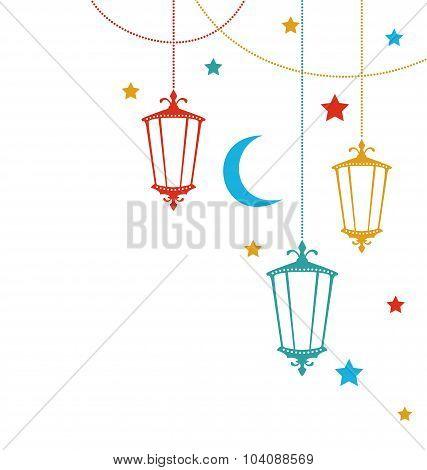 Greeting Card for Ramadan Kareem with Lamps