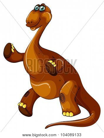 Brown brachiosaurus with long neck illustration