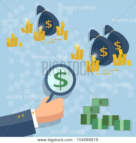 Control Of Money Dollar Coins Online Money Transfer Transactions Concept Financing Cash Investment G