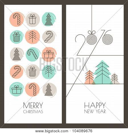 Set Of Vector Hand Drawn Christmas, New Year Greeting Cards. Linear Gifts Icons And Watercolor Backg