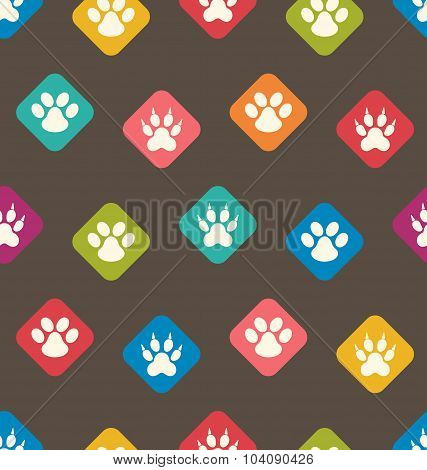 Seamless Texture with Colorful Traces of Cats, Dogs. Footprints
