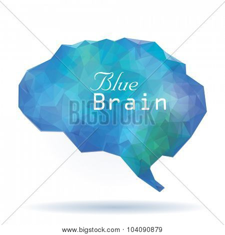 vector abstract low polygon blue human brain