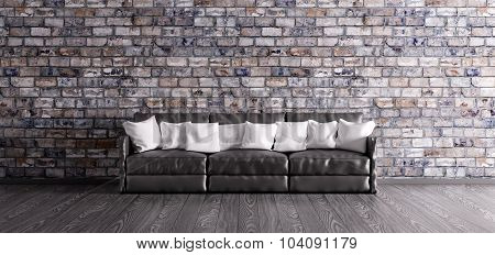 Black Sofa Over The Brick Wall 3D Render