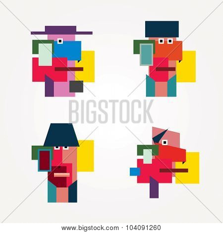 geometric simple man faces in cubism style