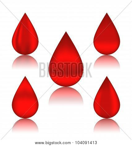 Set blood drops with reflections, different variation