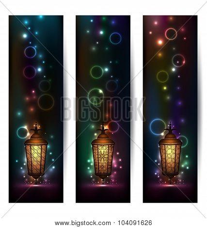 Set light banners with arabic lantern