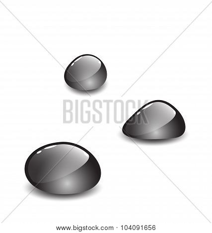 Glossy sea pebbles with shadows on white background