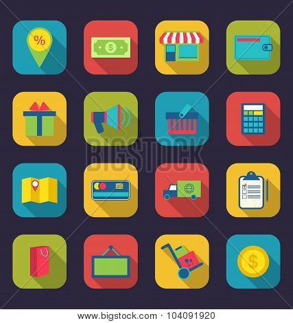 Set flat colorful icons of e-commerce shopping symbol, online sh