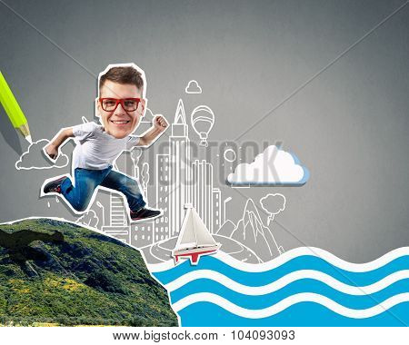 Collage image of funny running guy in casual